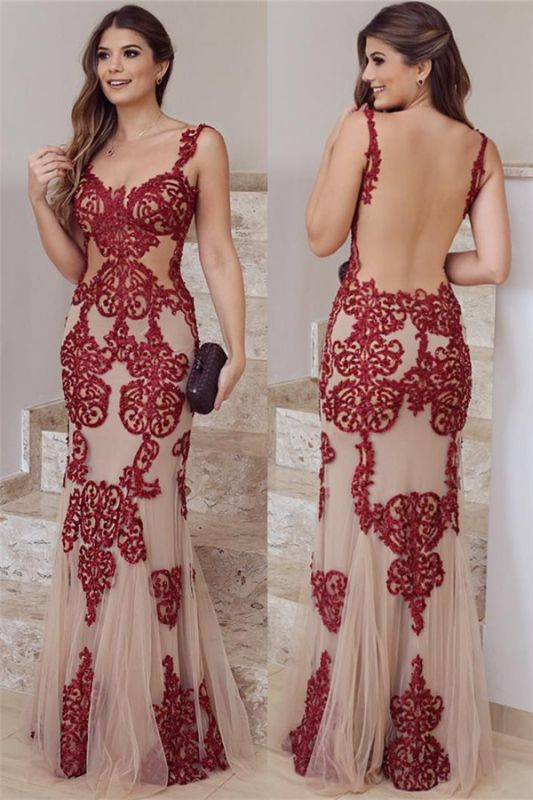 Straps Sexy Backless Burgundy Lace Evening Dresses   Nude Tulle Sleeveless 2020 Prom Dress