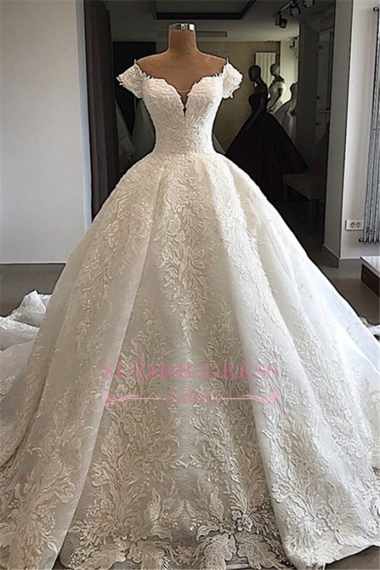 Marvelous Off-the-shoulder Cap-Sleeves V-neck Appliques Wedding Dresses