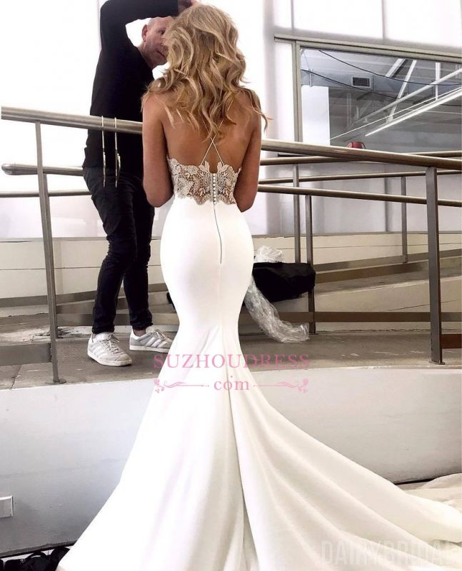 Elegant Spaghetti-Straps Appliques Bridal Gown | Sexy Backless Mermaid Wedding Dress bc2004
