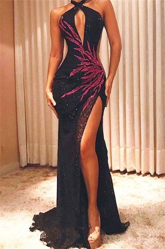 Halter Sexy Black Sequins Cheap Prom Dresses 2020 | Side Slit Fuchsia Appliques Sleeveless Evening Gowns