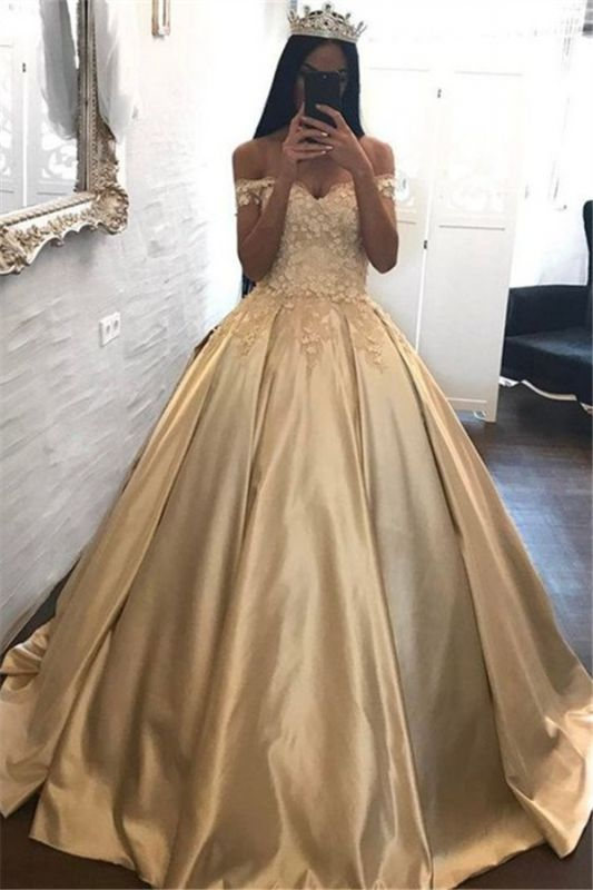 Off The Shoulder Champagne Gold Ball Gown Evening Dress Appliques 2020 Quinceanera Dresses FB0212