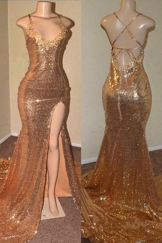 Open Back Sexy Slit Gold Sequin Prom Dresses | Spaghetti Straps Appliques Cheap Formal Evening Gowns