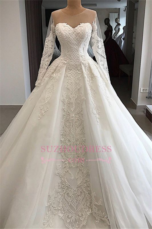 Long-Sleeves Appliques Charming Sweetheart Lace Jewel Wedding Dresses