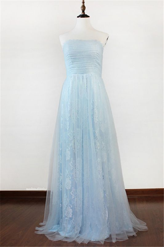 Ice Blue Strapless Lace Applique Prom Dresses 2020 Elegant Sweep Train Sheath Homecoming Dresses