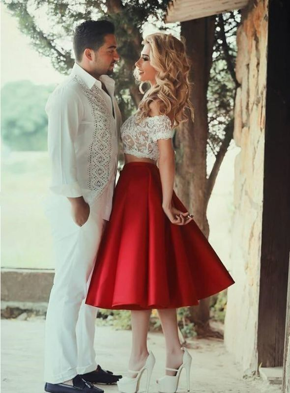 Bright Red Two Piece Evening Dresses 2020 Satin White Lace Prom Dress MH059