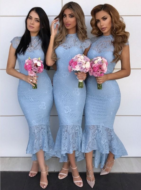 High Neck Lace Bridesmaid Dresses Cheap 2020 | Cap Sleeves Mermaid Maid of Honor Dresses with Fishtail