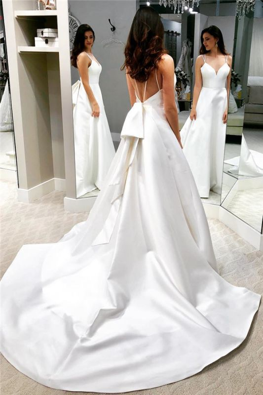 Chic White A-line Cheap Wedding Dresses | Spaghetti Straps Open Back Bridal Gowns