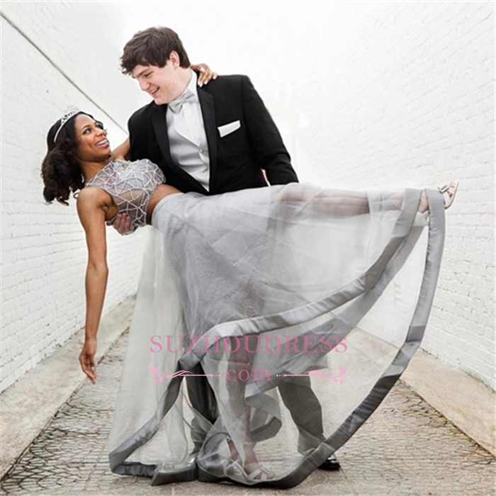 2020 Silver Two-Piece Prom Dress | Sleeveless A-line Crystal Evening Dresses