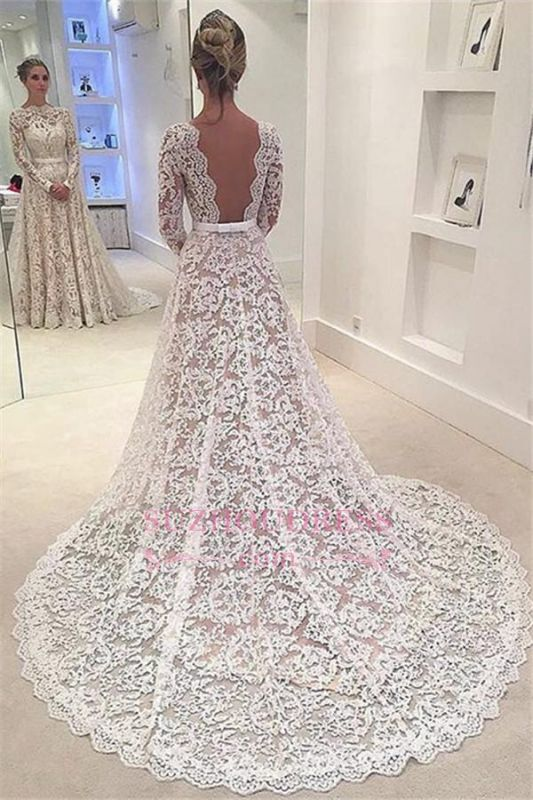 Elegant Long Sleeves Lace Evening Gowns Backless Bowknot A-Line Wedding Dress 2020 BA3858