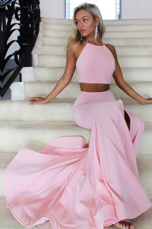 Halter Open Back Sexy Formal Dresses 2020 Two Piece Front Slit Evening Gowns