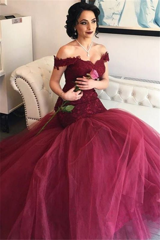 Off The Shoulder Burgundy Lace Evening Gowns Tulle Mermaid 2020 Prom Dresses BA4286