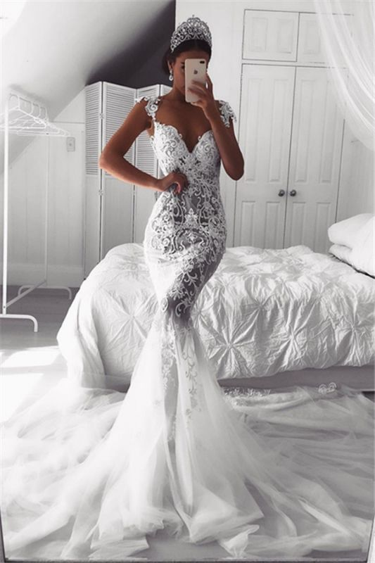 Sexy Mermaid Straps Wedding Dresses 2020 | Sheer Tulle Sleeveless Appliques Bridal Gowns