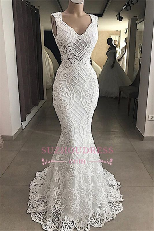 Lace Attractive Appliques V-Neck Mermaid Sleeveless Wedding Dresses