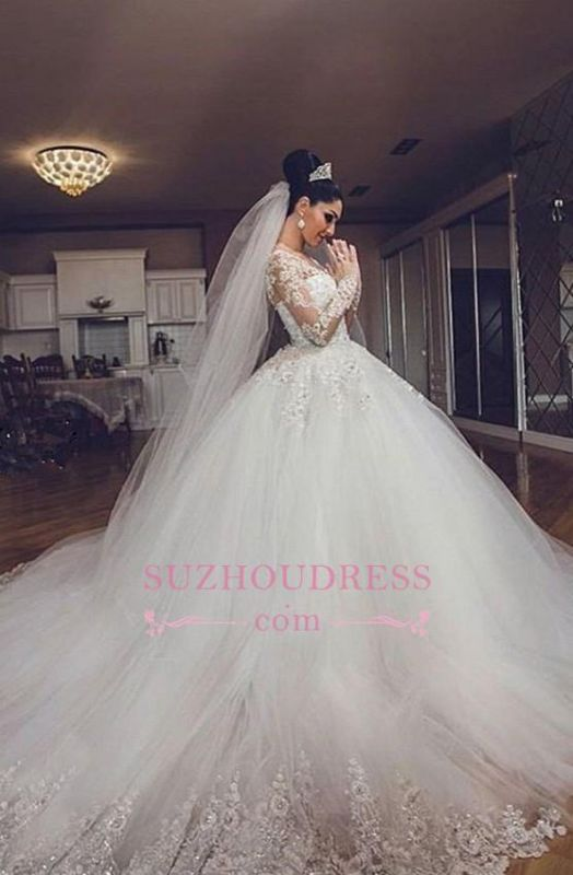 Luxurious Long Sleeves Ball Gown Wedding Dresses Lace Appliques Tulle Wedding Gowns 2020 BA3182