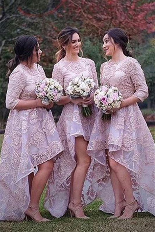 Half Sleeves Lace High Front Low Back Bridesmaid Dresses 2020 Cheap Wedding Party Dress