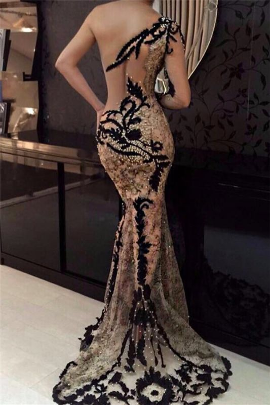 One Shoulder Sleeveless Sexy Lace Prom Dresses Cheap | Black Appliques Beads Appliques Evening Gowns 2020