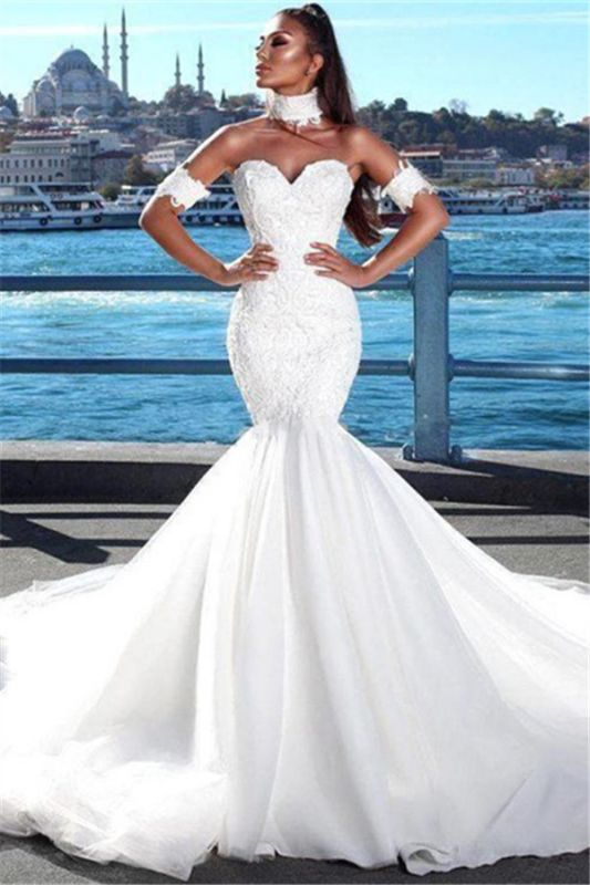 Sexy Mermaid Sweetheart Wedding Dresses | 2020 Lace Open Back Bridal Gowns