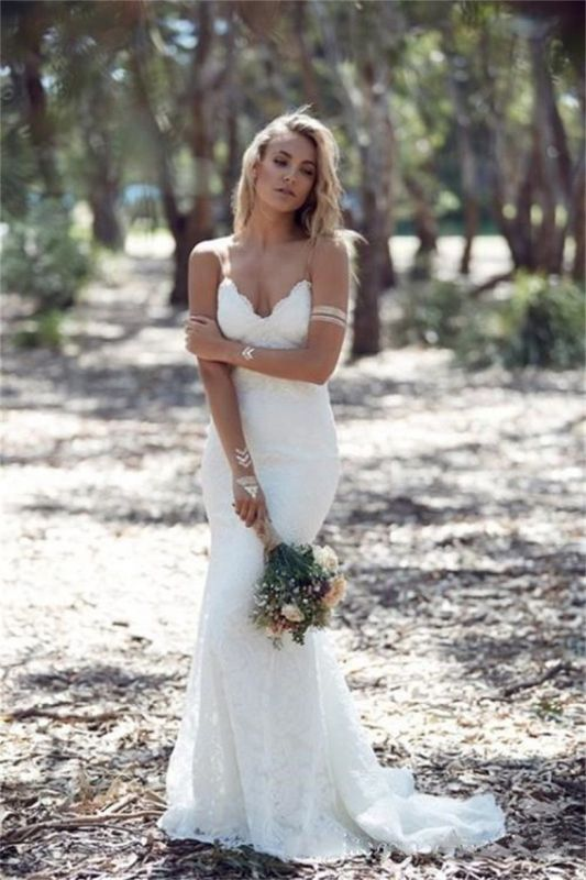 2020 Summer Bohemian Wedding Dresses Straps Backless Mermaid Lace Bride Dress WE0052
