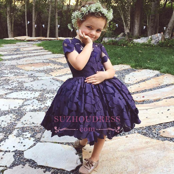 Newest Lace Jewel Short Sleeve Knee Length Cheap Lovely Flower Girl Dress