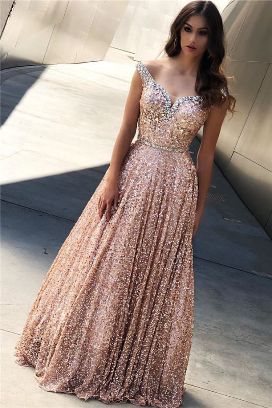 Champagne Pink Sequins Evening Dresses Cheap | Off The Shoulder Sexy Prom Dress 2020 bc1588