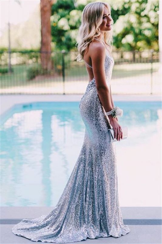 Sexy Open Back Silver Sequins Evening Dress Cheap 2020 | Mermaid Spaghetti Straps Fomral Dressn bc1638