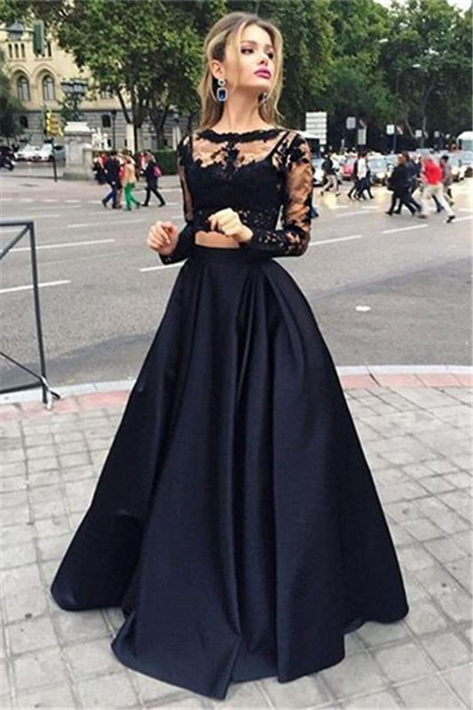 Black Lace Two Piece 2020 Prom Dresses Long Sleeve Evening Gown CE049