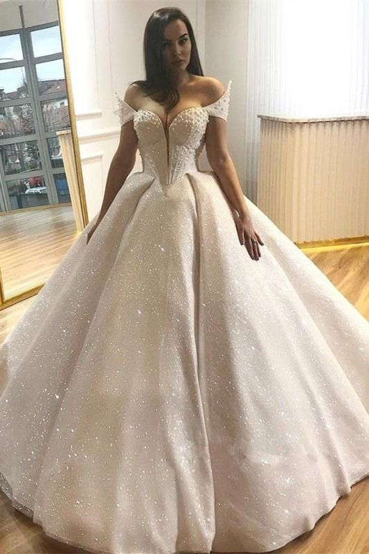 Glamorous Off-the-Shoulder Beading Wedding Dresses | 2020 Sequins Ball Gown Bridal Gowns