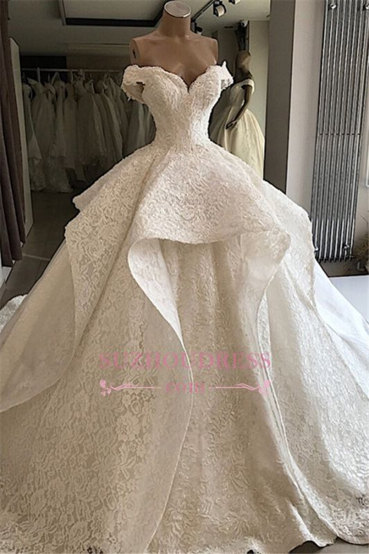 Beautiful Off-the-shoulder Ball-Gown Lace Wedding Dresses