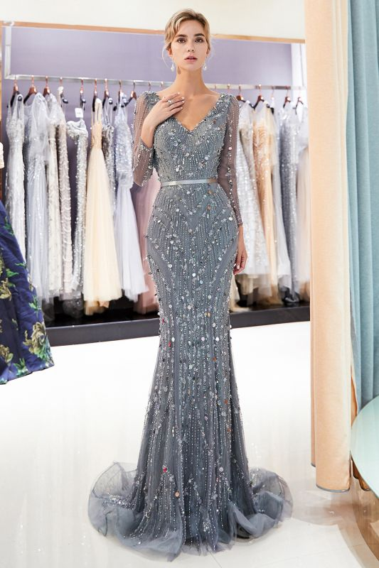 Gray V-Neck Mermaid Evening Dresses with Long Sleeves | Sexy Mermaid Prom Dresses 2020