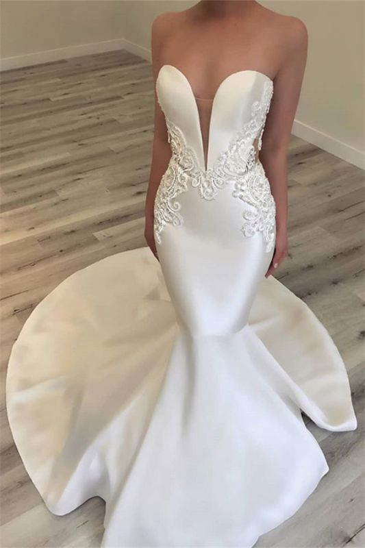 Elegant Sweetheart Mermaid Satin Bridal Gowns | Sexy Lace Open Back Wedding Dresses 2020 BC0628