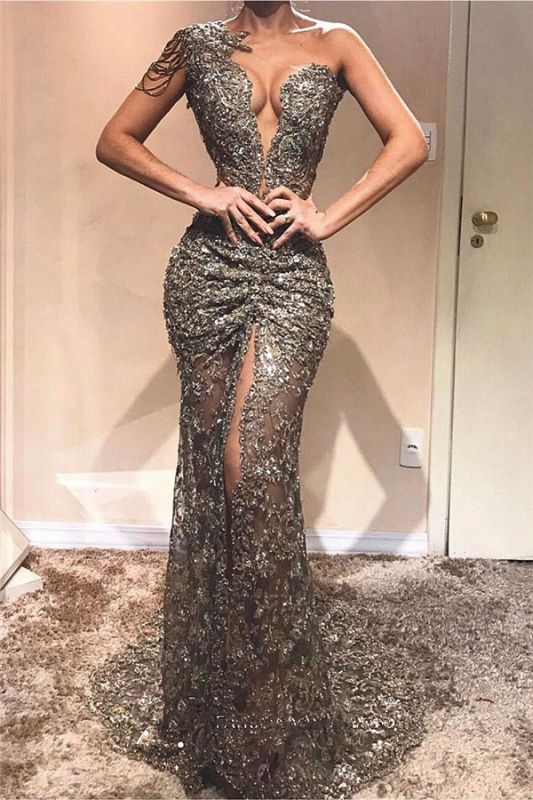 Sexy One Shoulder Front Slit Cheap Prom Dresses | See Through Beads Appliques 2020 Evening Gowns