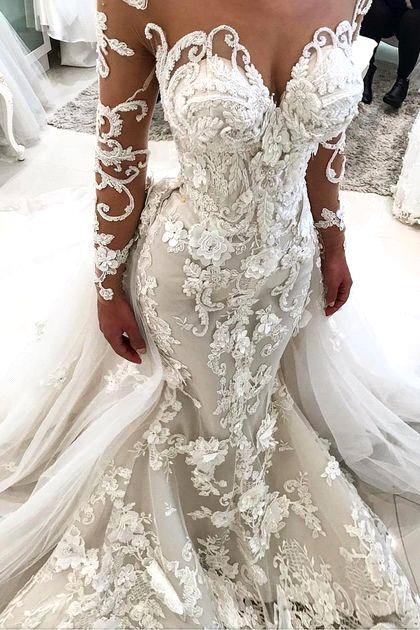 Glamorous Long Sleeves Mermaid Wedding Dresses 2020 | Sexy Flowers Mermaid Bridal Gowns with Detachable Train