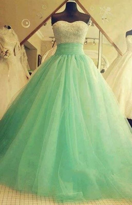 Sweetheart Tulle 2020 Ball Gown Crystal Green Sexy Quinceanera Dresses