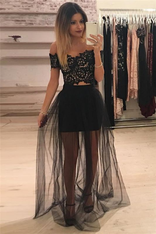 Off The Shoulder Two Piece Lace Formal Dress Cheap 2020 Sheer Tulle Cheap Ball Dress