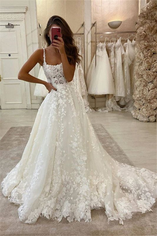 Glamorous Lace Appliques Spaghetti Straps Wedding Dresses | Sweep Train A-line Bridal Gowns