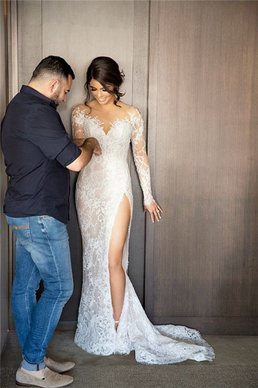 2020 New Full Lace Split Wedding Dresses Illusion Back Bridal Gowns with Detachable Satin Skirt