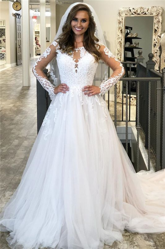 A-line Lace Appliques Wedding Dresses | Sheer Tulle Sweep Train Bridal Gowns