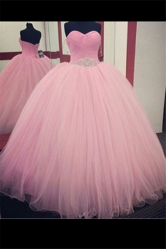 Pink Ball Gown Sweetheart Quinceanera Dress 2020 Princess Dress with Crystal Belt CJ0430