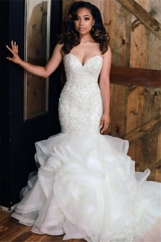 Sexy Strapless Mermaid Ruffle Wedding Dresses 2020 | Beads Lace Appliques Cheap Bridal Gowns