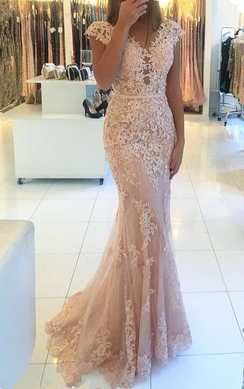 Cap Sleeves Lace Tulle Pink Evening Dress | Mermaid 2020 Cheap Party Dresses