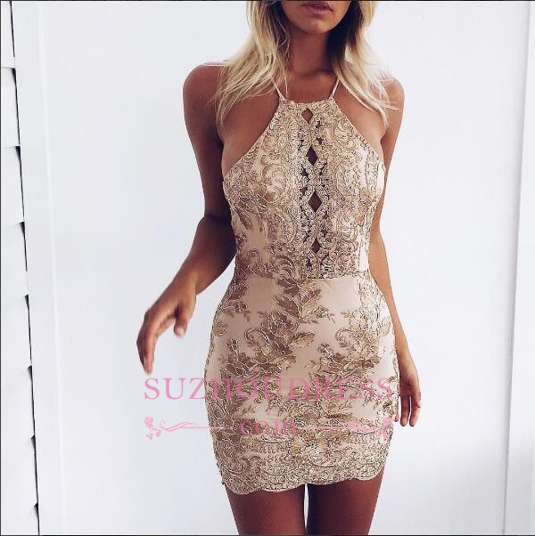 Sleeveless Backless Sexy Cocktail Dress Cheap Lace Appliques Mini Homecoming Dress 2020 BA6717