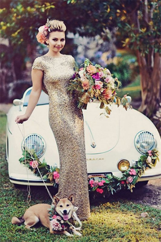 2020 Sparkly Gold Sequins Wedding Party Dresses Floor Length Open Back Bridesmaid Dress