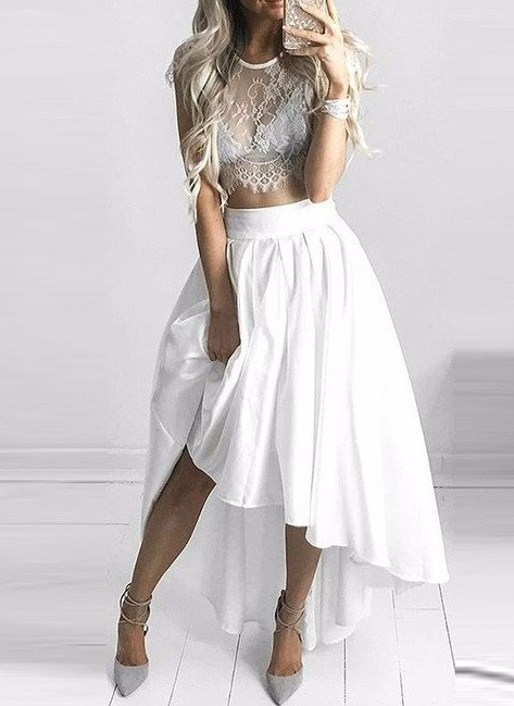 Two Piece White Hi-Lo Formal Dress 2020 Lace Capped Sleeves Sexy Prom Dresses BA6137