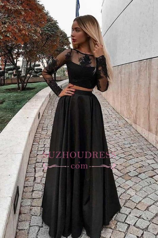Sleeves Lace Black Gorgeous Pieces Long Two Evening Dresses