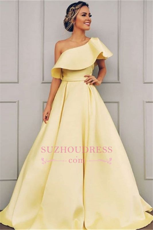 2020 Chic One-Shoulder Sleeveless A-line Prom Dresses |  Cheap Ribbon Evening Gown On Sale
