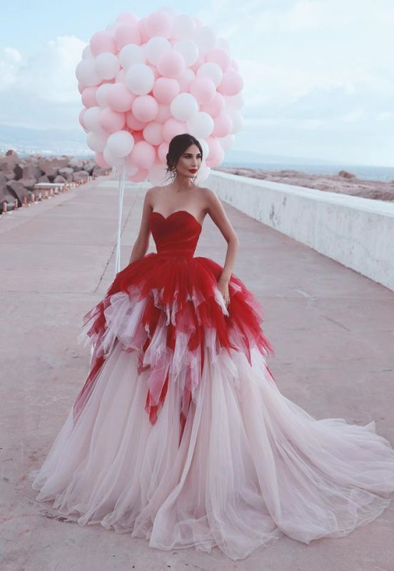 2020 Sweetheart Red Puffy Tulle Sexy Formal Evening Dresses | Tiered Sleeveless Prom Dresses Cheap Online