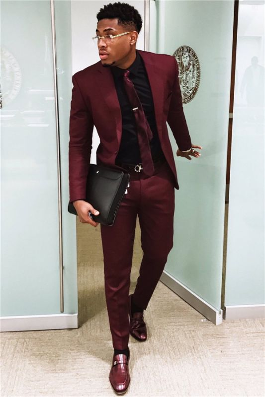 2020 Handsome Burgundy Mens Suits | Slim Fit Tuxedos Cheap One Button Formal Prom Suit (Blazer Pants)