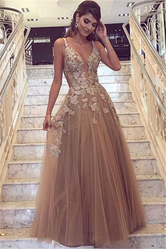 Sexy Lace Appliques Cheap Prom Dresses 2020 | Sleeveless Long Evening Party Dress FB0396