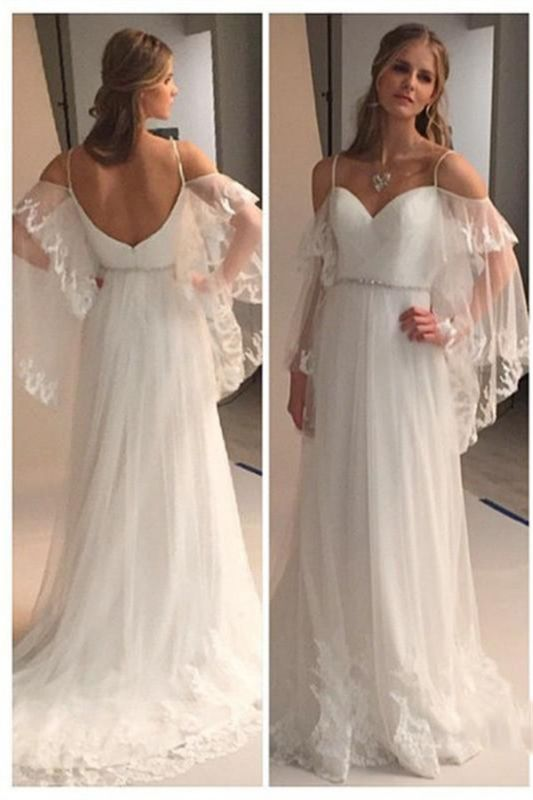 Spaghetti Straps Sweetheart Beach Wedding Dress 2020 Illusion Sleeves Bridal Gowns BA0545