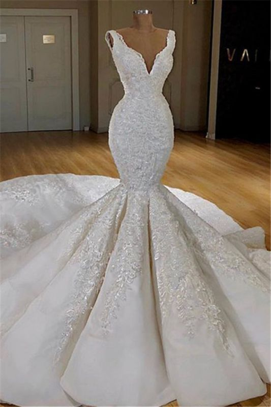 Elegant Mermaid Lace Wedding Dresses Online | Sleeveless Puffy Bridal Gowns 2020